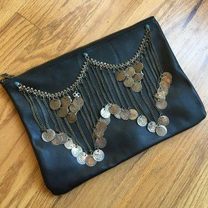 Understated Leather / Coin Chain Clutch